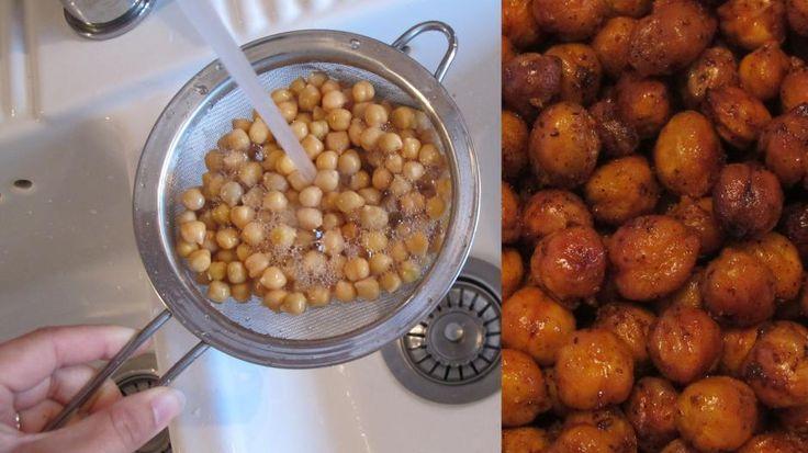 TOPP SNACKS: Ristede kikerter er et supert alternativ til potetgull.