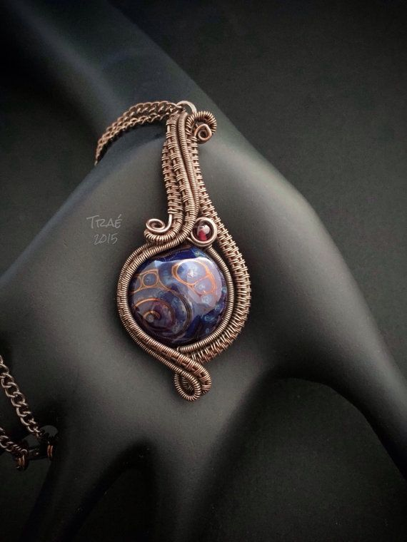 Handmade Lampwork Bead Copper Wire Weave by Traebetruedesign