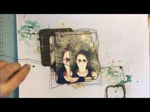 Mixed media layout step by step by Aga Baraniak - YouTube