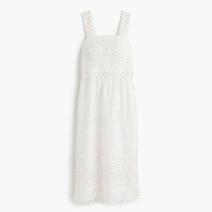 Petite tiered eyelet midi dress