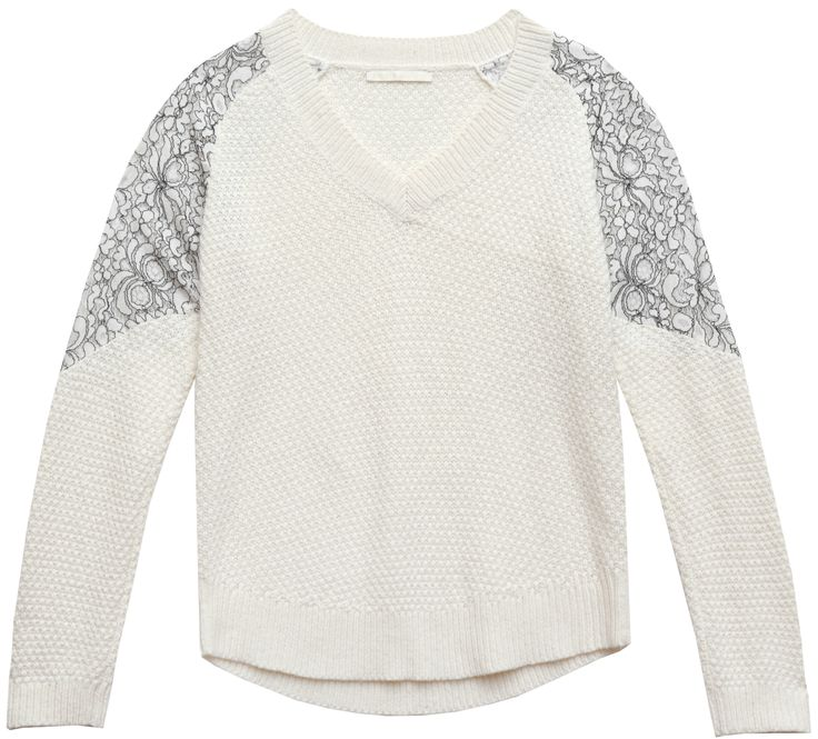 cooper & ella's Lace Detail V-Neck Sweater.  The lace detail v-neck takes a fun approach to your evening sweater, with a flattering vneck and subtle lace panels this sweater is a no-brainer. #cooperandella #sweater