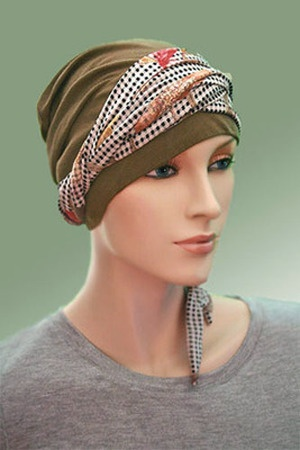 $27.50 - Olive and Garden On Check 2-Tone Head Wrap - @ hatsforyou.net #cancer #chemo #alopecia #hair loss