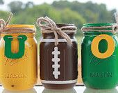 Oregon Ducks Collegiate Football Painted/Distressed Mason Jars