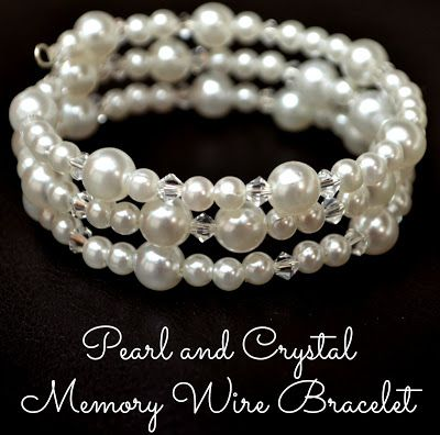 Pearl and Crystal Memory Wire Bracelet