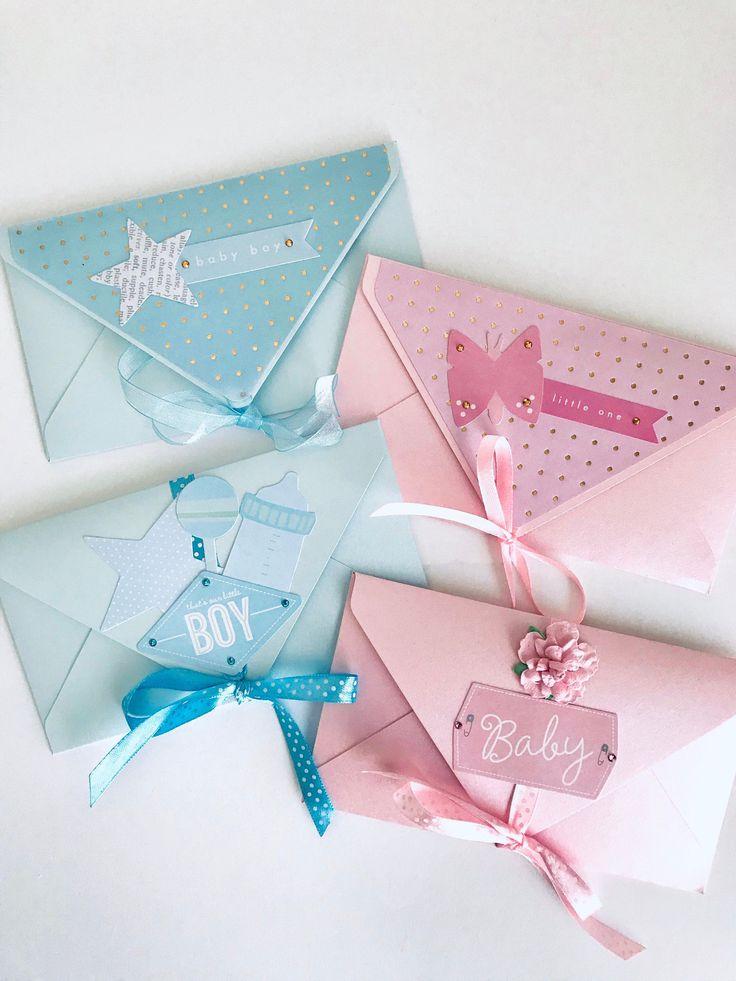 Baby boy and girl handmade gift card holder handmade