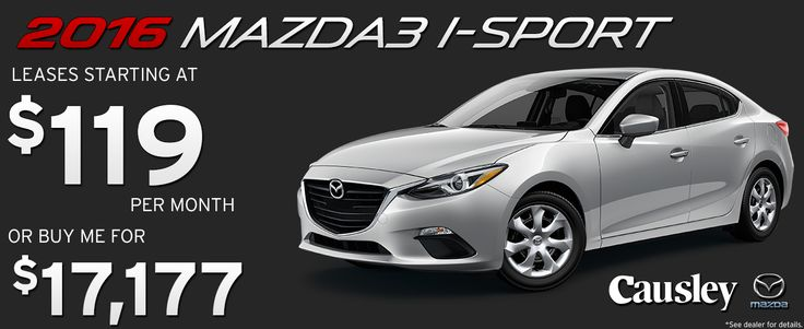 2016 Mazda3  I-Sport.  Leases starting at $119 per month or buy for $17,177 at Causley Mazda!  www.causleymazda.com