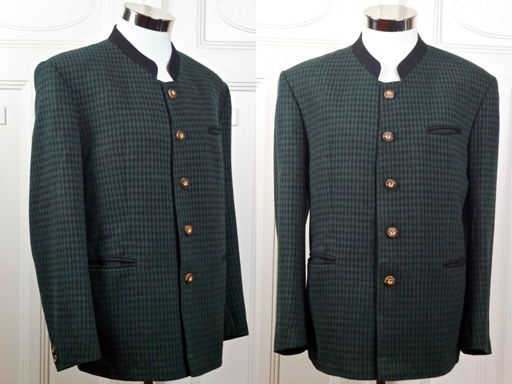 Vintage Trachten Jacket, Dark Green Black Check Wool-Blend  Bavarian Blazer, Octoberfest, Austrian Jacket, German Clothing: XL, 42 US/UK by YouLookAmazing on Etsy