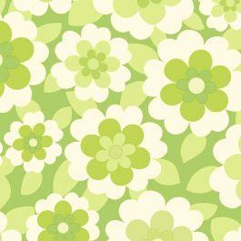 Behang met retro bloemenprint in 3 kleuren
