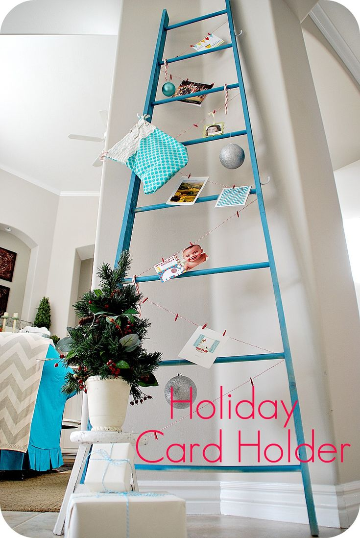 Make a DIY ladder to display stockings, cards or advent calendar.Christmas Cards, Cards Display, Cute Ideas, Holiday Cards, Advent Calendar, Cards Holders, Christmas Holiday, Xmas Cards, Diy Christmas