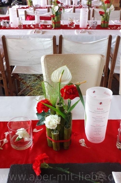 Tischgesteck tischdeko hochzeit hochzeitsdeko rot wei for Pinterest hochzeitsdeko