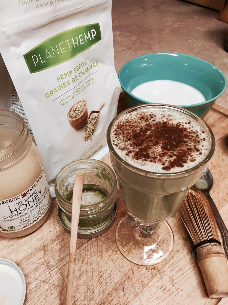 Hemp milk matcha latte with cinnamon
