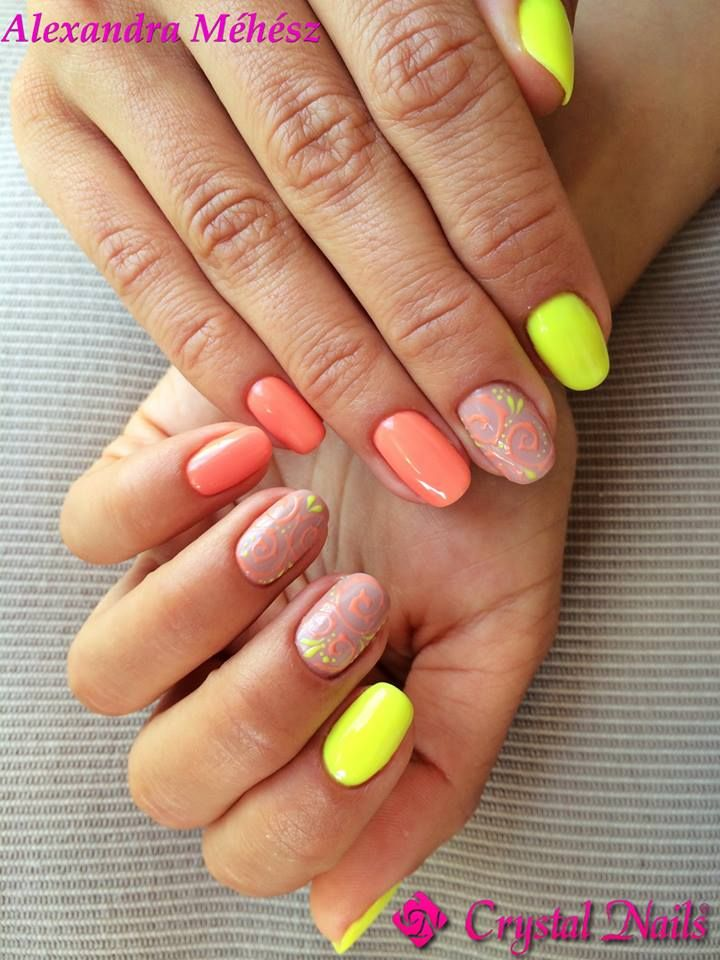 #neon #one #onestep #crystalac #gelpolish #summer #hot #beach #crystalnails #nails
