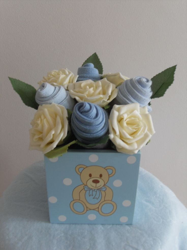 Baby Boy Sock Bouquet in planter £15.00