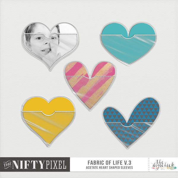 FABRIC OF LIFE V.3 | Plastic Sleeves I love a plastic sleeve to slot precious keepsakes, journaling or photos into. This set of sleeve pockets will call out to the creative heart in you. With several unique heart shaped pockets you will be creating some fun yet realistic looking digital scrapbook pages by showcasing your precious momentos in these cute sleeves.  DOWNLOAD INCLUDES:  5X Different HEART SHAPED Sleeves varying in photo size and shape. PSD | TIFF | PNG |