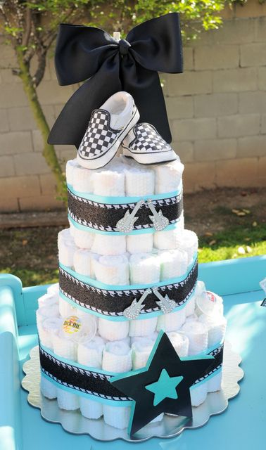 "Photo 5 of 40: Rock n Roll, Guitar, Boy / Baby Shower/Sip & See ""Rock A Bye Baby Shower"" 