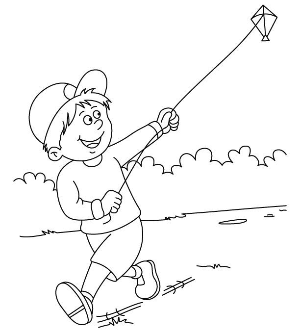 Playing Kites With Happy Coloring Pages For Kids Printable