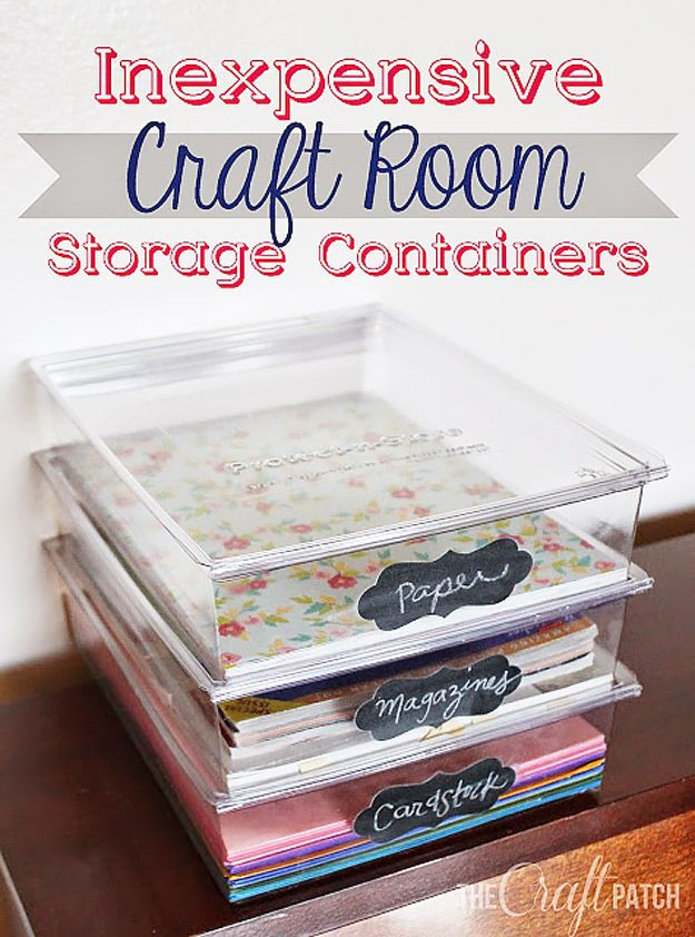 Craft room organization project using inexpensive craft room storage containers - perfect for fabric, paper, pens, creative tools, crafts supplies and sewing notions