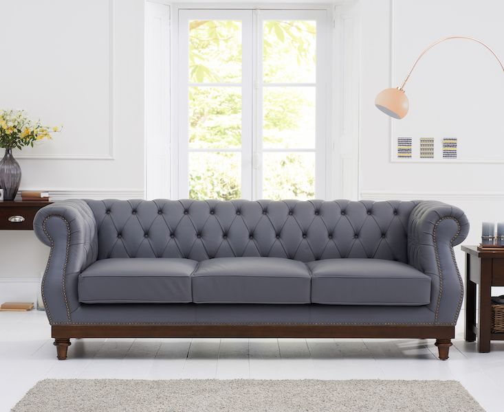 Mark Harris Highgrove Grey Leather 3 Seater Sofa With Dark Ash Wood Legs In 2020 3 Seater Sofa Grey Leather Sofa