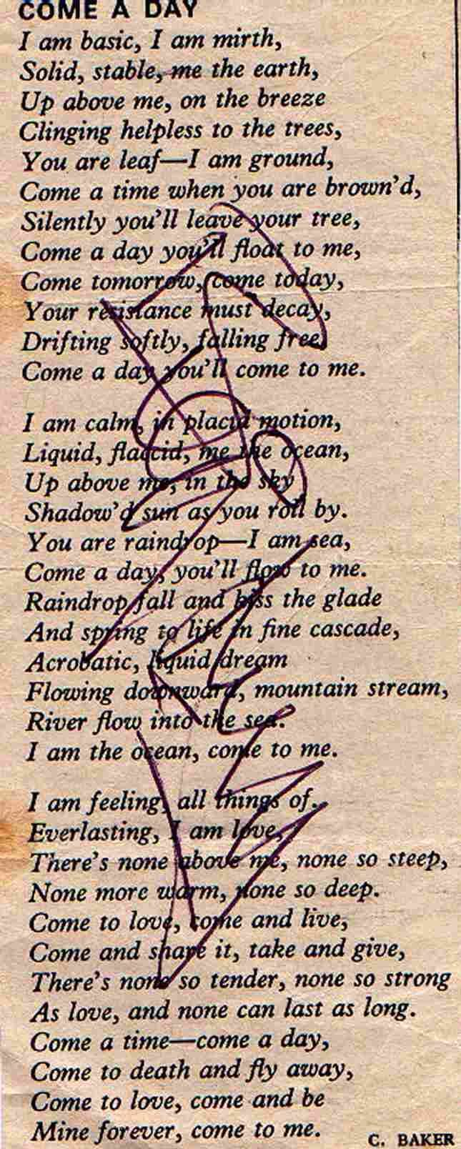 Billy's signature on a poem - from Barbara Hughes who posted it on to BILLY FURY SONGS on Facebook - 14th August, 2014