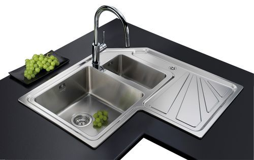 2-bowl kitchen sink / stainless steel / corner / with drainboard ANGOLARE 3306.STD - 3306 060 Foster