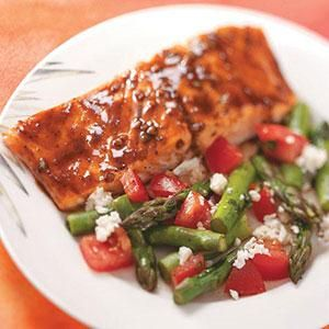 Balsamic-Glazed Salmon. Did it with one big fillet, 18 minutes in the oven, added 2 extra cloves of garlic and skipped the oregano.