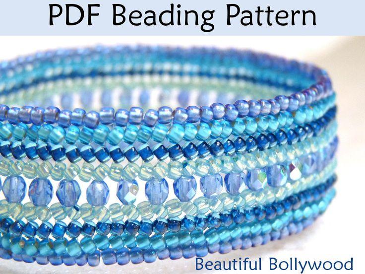 Patterns borda, a spina di pesce bordato il braccialetto, monili che fanno Tutorials, Seed Bead modello, modelli Perlina semplici, PDF Istruzioni # 1357