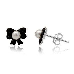 Zilveren Oorbellen Strik met zwart Preciosa Kristal en Parel