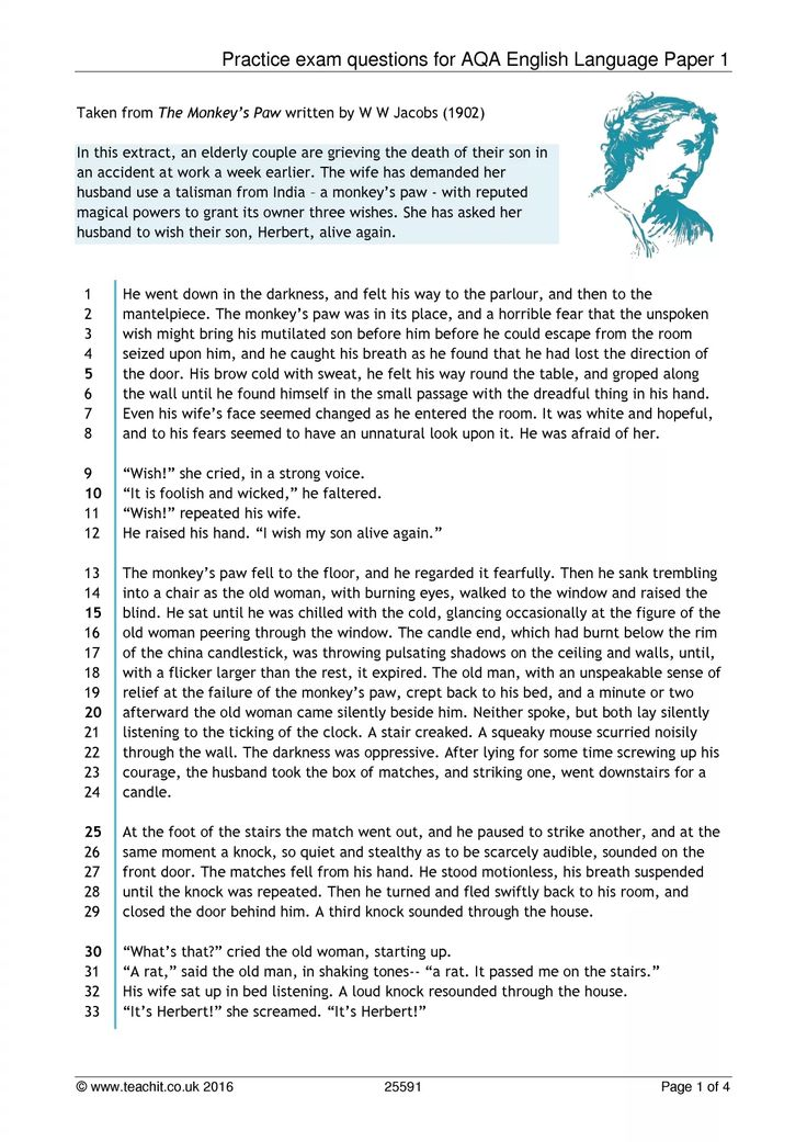 Practice exam questions for AQA English Language Paper 1
