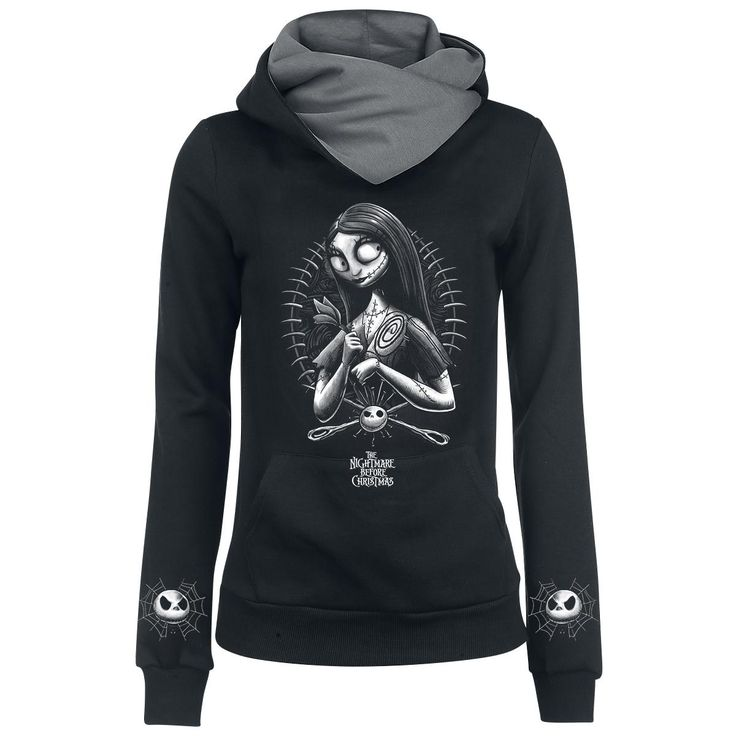 - shawl collar hoodie  - printed front and lower sleeve  - kangaroo pocket  - elastic cuffs    The Nightmare Before Christmas 'Needles