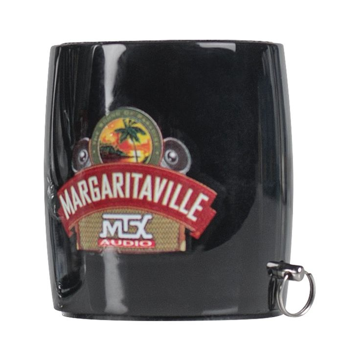 Margaritaville Bluetooth Sound Shot Mini Speaker (Black). Wireless listening & music controls. Built-in mic for hands free calling. Photo remote for selfie mode. Easy pairing Procedure. Includes lanyard & Mini USB.