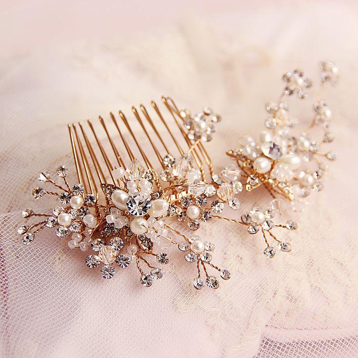 Невесты аксессуары для волос ручной работы кристалл горный хрусталь волос расчёска сияющий позолота свадьба платье замуж стиль аксессуаров купить на AliExpress