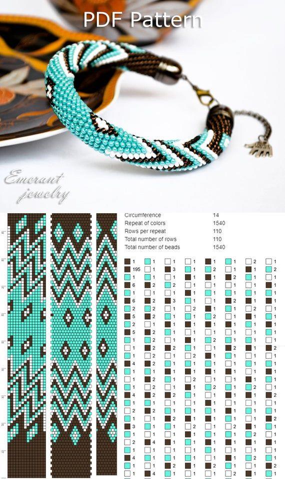 Bead crochet pattern seed bead bracelet tutorial pdf beading master Class jewelry make necklace Crochet Rope PDF tutorial geometric zigzag – perlenhäkeln anleitungen