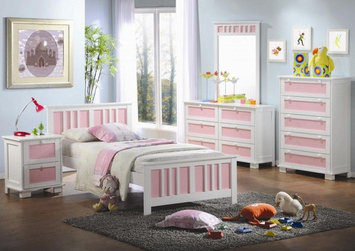 Furniture. Affordable Bedroom Furniture Sets Pretty Design Ideas Of Girl With White And Pink Colors Wooden Bed Frames Combine Floral Pattern Covered Bedding Sheets Pillows Also Square Shape Bedside Table Lamp Dresser Chest Brown Floor Gray Plush Carpet Blue Wall Paint Color Glass Window Curtains Painted Bedroom Furniture . Awesome Design Ideas Of Girls Bedroom Furniture Sets