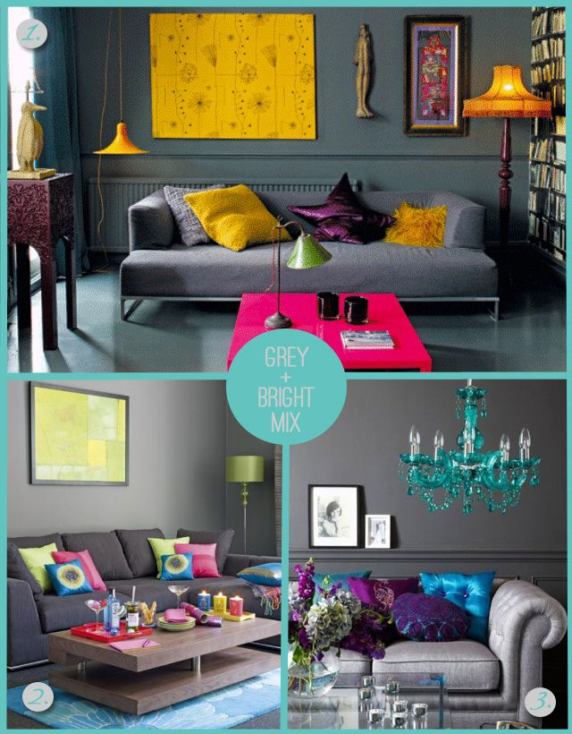 Absolutely LOVE the dark charcoal walls  sofa, with bright vibrant pops of color and accents