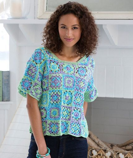 Granny Square T-Shirt w/ 4 Squares and 2 Triangles.  Free Downloadable pdf Written Pattern.: