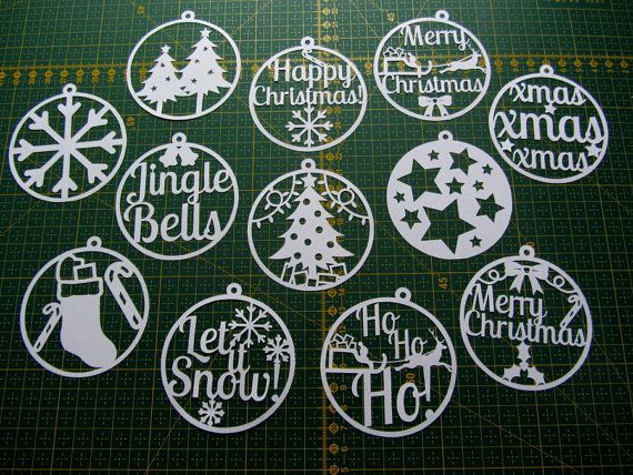 Christmas paper cut templates set of 12 PDF - can be used to make decorations and cards, for personal use only