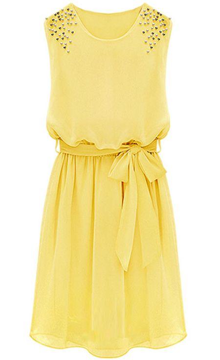Yellow Sleeveless Bead Belt Chiffon Sundress