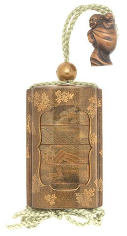 A gold-lacquer saya (sheath) five-case inro By Komin, Edo period (1615-1868) or Meiji era (1868-1912), mid-late 19th century