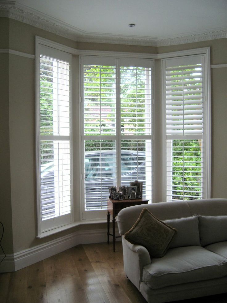 17 best images about window shutters on pinterest white for Bay window interior
