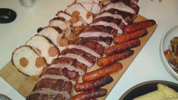 Sausage stuffed Turkey Breast, Ribs, and Hot Links