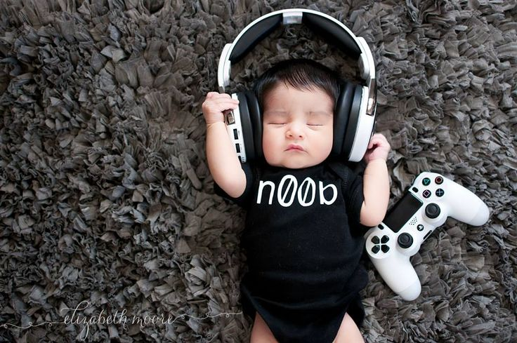 Video game gamer newborn photography how cute is this little guy with his noob
