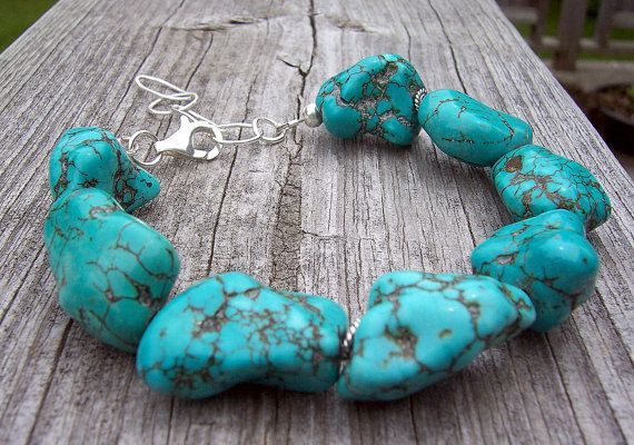 Chunky turquoise nugget bracelet by starrydreams on Etsy, $40.00