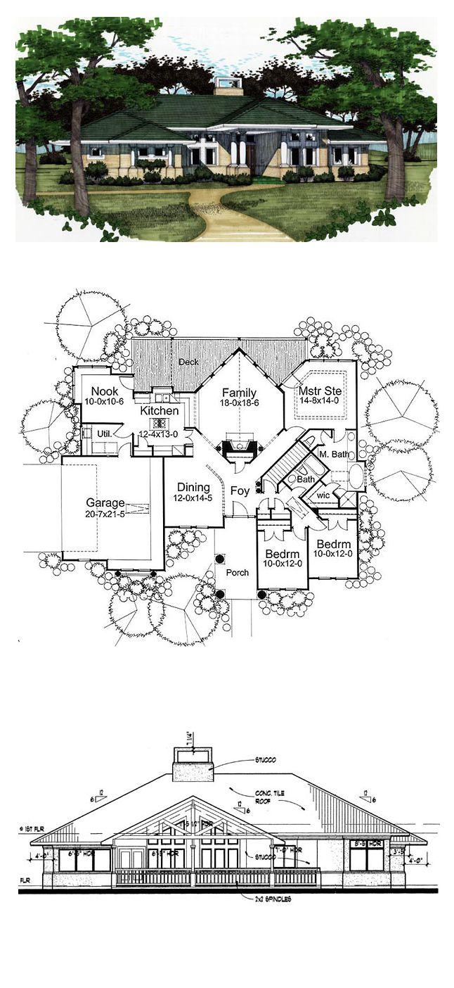 Florida prairie style southwest house plan 65810