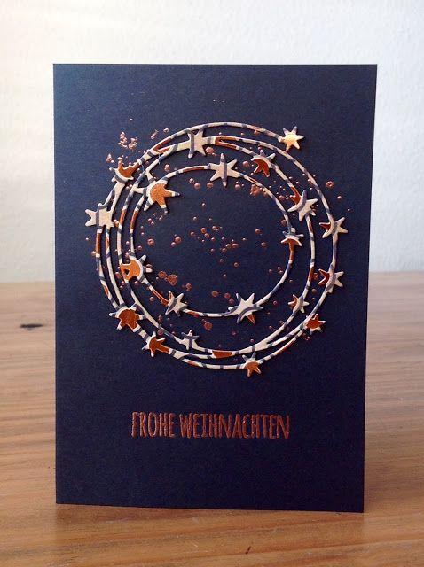 """Die schlichte Karte: Sternenkranz I, """"Sternenkranz"""" von Charlie & Paulchen, """"Frohe Weihnachten"""" aus  """"13x Frohe Weihnachten"""" von Klartext Stempel"""