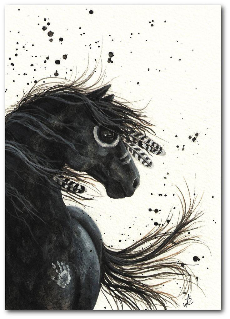 Native American Black Horse Feathers Mustang ArT -  5x7 Fine ArT Print by AmyLyn Bihrle. $15.00, via Etsy.
