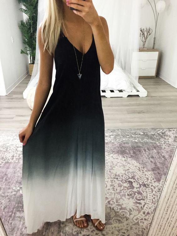 Black ombre maxi dress