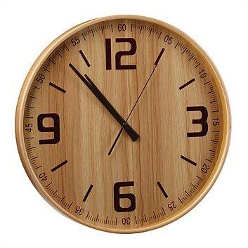 Briscoes - Wooden Wall Clock Wood Face 40cm