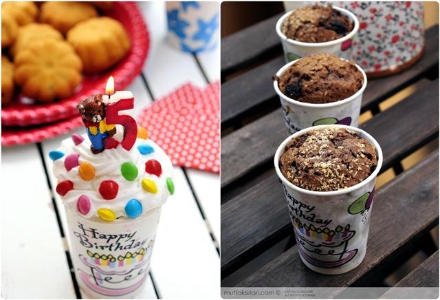 Little Birthday cakes in papercups / kleine Geburtstagskuchen in papierbechern