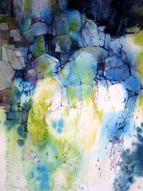 Artwork of Karen Ku - Blue Rocks - watercolor