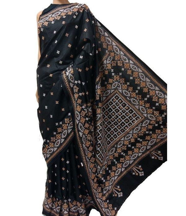 Black Kantha Stitch Pure Bangalore Silk Saree